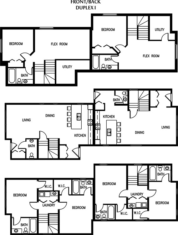 Exciting back to back duplex house plans ideas best for Back to back duplex house plans