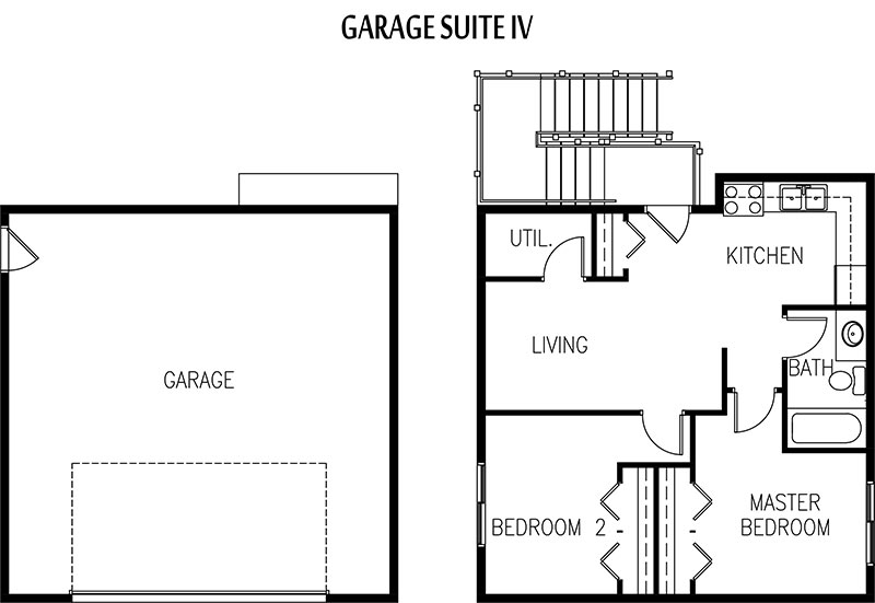 Converting garage into living space floor plans garage for Garage with suite above plans