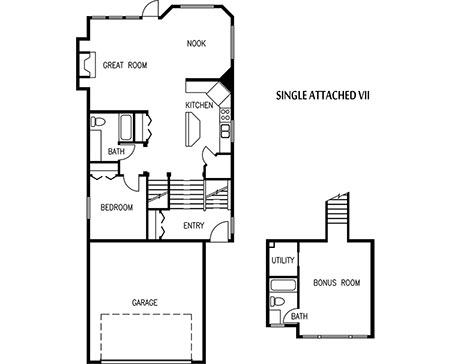 elevation of a single attached home