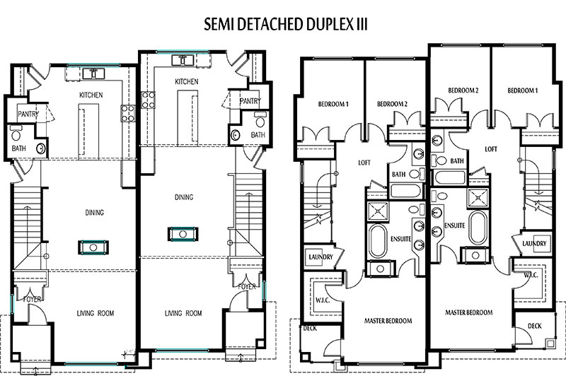 Two bedroom semi detached house floor plans for Semi duplex house plans