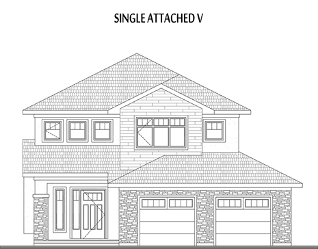 single attached home plan elevation
