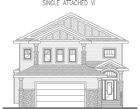 flyout for single attached home elevation plan