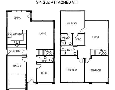 plans of a single attached home